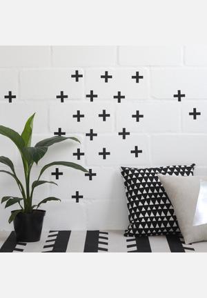 Sixth Floor Swiss Cross Wall Decal Accessories Black