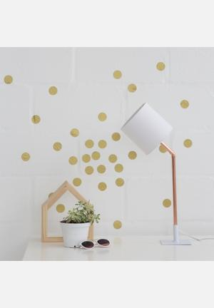 Sixth Floor Gold Polka Dot Wall Decal Set Of 40 Accessories Gold