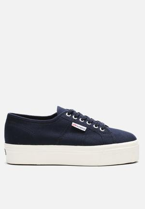 SUPERGA 2790 Classic Wedge Sneakers Navy & White